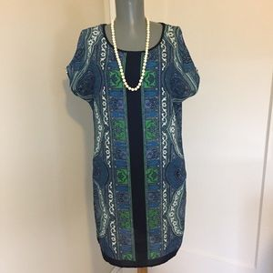 Kut from the Kloth Blue Green White Shift Dress